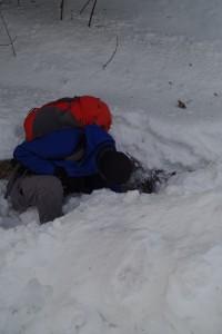Kein Lawinenhund: Geocacher im Winter